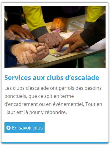 Service aux clubs d'escalade